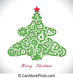 Vector illustration with christmas symbols and snakes inside Christmas tree shape.
