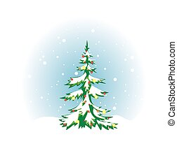 Christmas tree with snow and decoration - vector eps 8