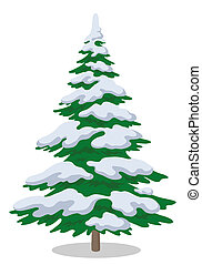 Christmas fir tree with snow, holiday winter symbol, isolated on white