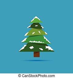 christmas tree with snow illustration