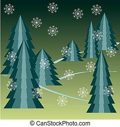 Christmas tree with snow