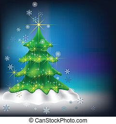 Christmas tree with snowflakes on dark background
