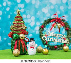 Christmas tree with snowman background