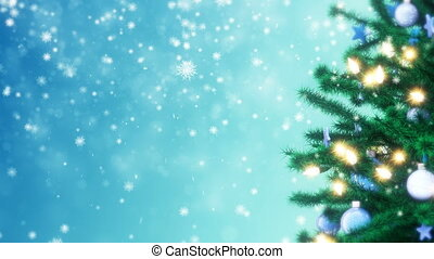 Christmas tree with sparkling light garland, balls and stars. Falling snowflakes
