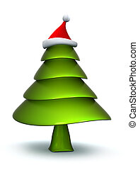Christmas tree with stanta hat
