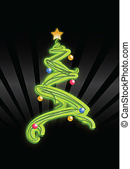 Christmas tree, with star and decorations. Vector file...