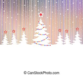 Christmas tree with star and garlands. Polar lights.