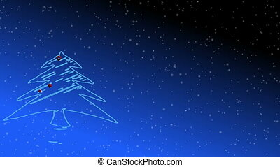 Christmas tree with star animation, blue gradient background