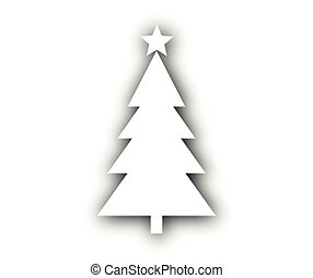 Christmas tree with star on white