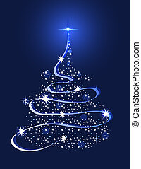 Abstract Christmas tree shaped with stars and gradient ribbons