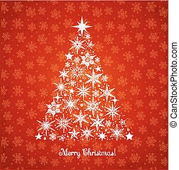 Christmas tree with stars and snowflakes on red background
