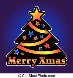 Christmas tree with stars on a violet background