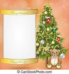 Christmas tree with teddy bear