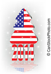 Christmas tree with the American fl