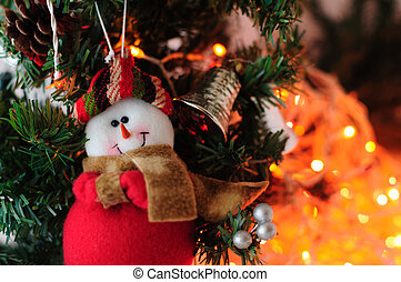 Christmas tree with toy snowman