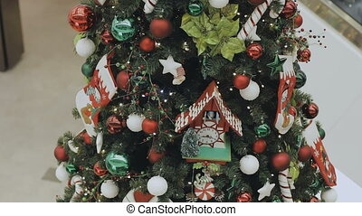 Christmas tree with toys close up