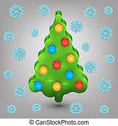 Christmas tree with toys. Snow