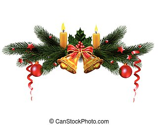 Christmas  tree with tradition decor. Holiday vector for design.