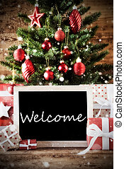 Christmas Tree With Welcome - Christmas Card For Seasons...