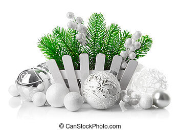 Christmas tree with white balls decoration
