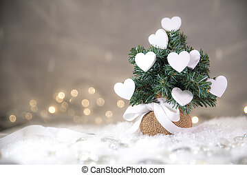 Christmas tree with white hearts