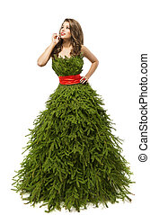 Christmas Tree Woman Dress, Fashion Model in Creative Xmas Gown Costume, Isolated