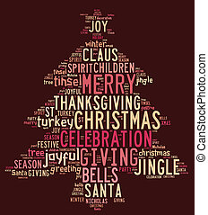 Christmas tree word clouds in red background