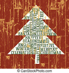 Christmas tree words composition. Vintage styled illustration, EPS10.