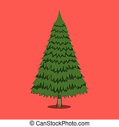 Christmas Tree, XMas icon. Cartoon style. Vector Illustration for Christmas day