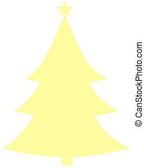 Christmas Tree Yellow Flat Icon On White Background