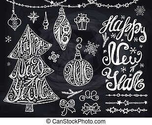 Christmas tree,bals.New year Lettering,decor.Chalkboard -...
