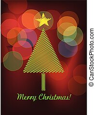 Christmas trees and colorful bokeh vector