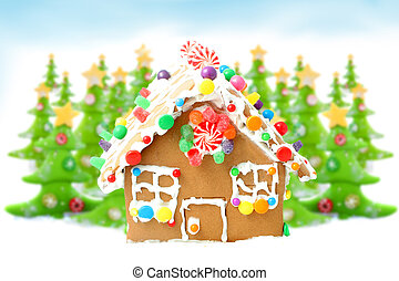 Christmas trees and gingerbread house