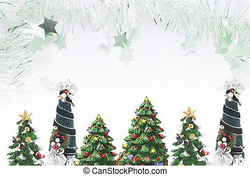 Christmas Trees and Tinsel  with Copy Space