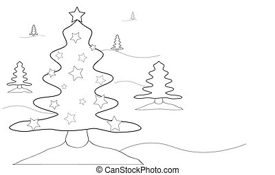 Christmas trees-black and white