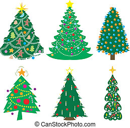christmas trees - A Variety of six decorated Christmas...