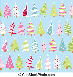 Christmas trees, on the blue background