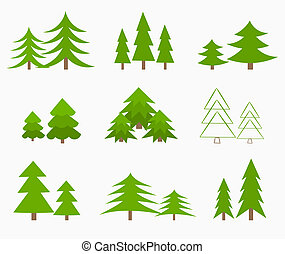 Christmas trees - Various green Christmas trees. Vector...