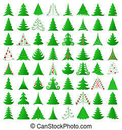 Christmas trees collection - symbolic Christmas trees and...