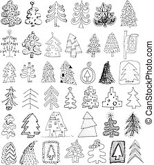 Christmas Trees Doodle Collection