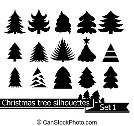 Christmas trees. Vector set of silhouettes isolated on white...