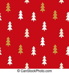 Christmas trees gold, white and red seamless pattern.