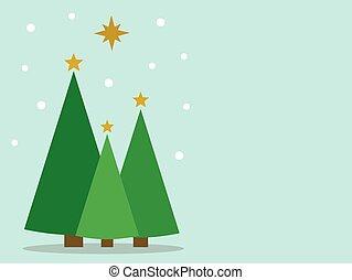 Christmas trees greeting card.