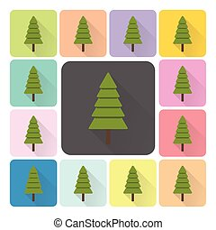 Christmas trees Icon color set vector illustration.