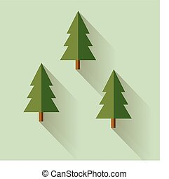 Christmas trees in vector flat design style. Fir tree icon on green