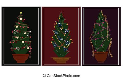 Christmas trees on 3 background