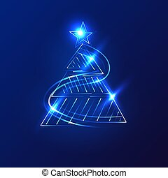 Christmas trees on a dark background. Vector.