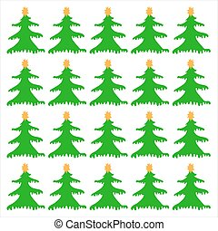 Christmas Trees on a white background, vector background pattern seamless.