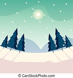 christmas trees on winter landscape