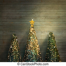 Christmas trees on wood